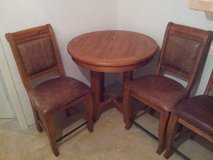 Breakfast Nook Oak Table w/ 3 leather high back chairs in Kirtland AFB, New Mexico