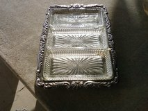 Silver Relish Tray/ 3 Glass Trays in Alamogordo, New Mexico